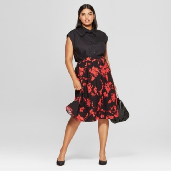221be6038b4 New Who What Wear Midi Skirt Pleated Floral